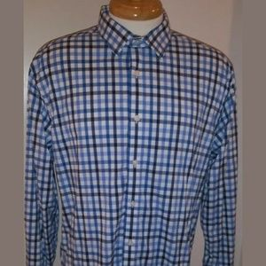 UNTUCKit Mens oxford Blue White Check button up LS